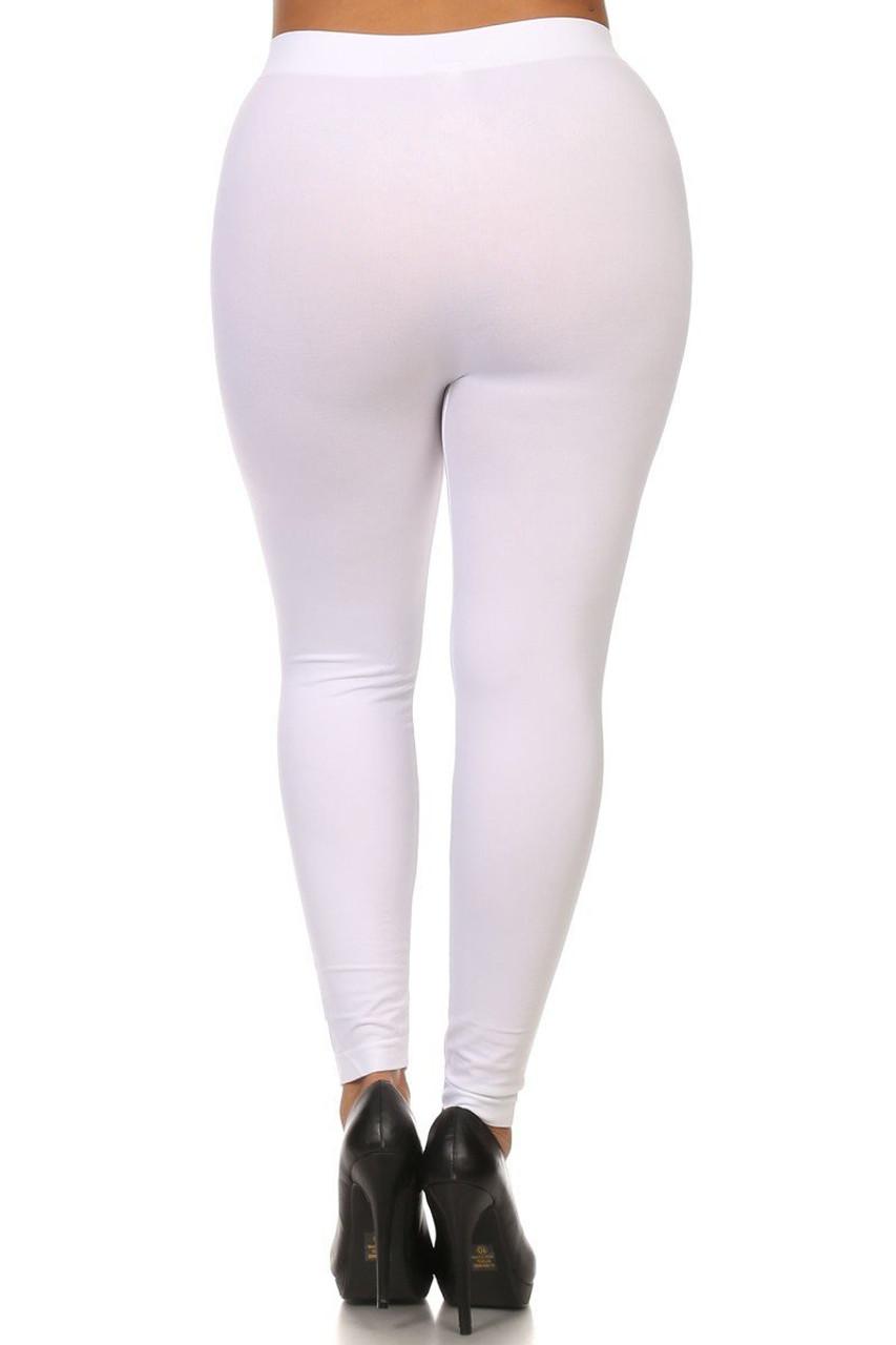 White Full Length Nylon Spandex Leggings - Plus Size