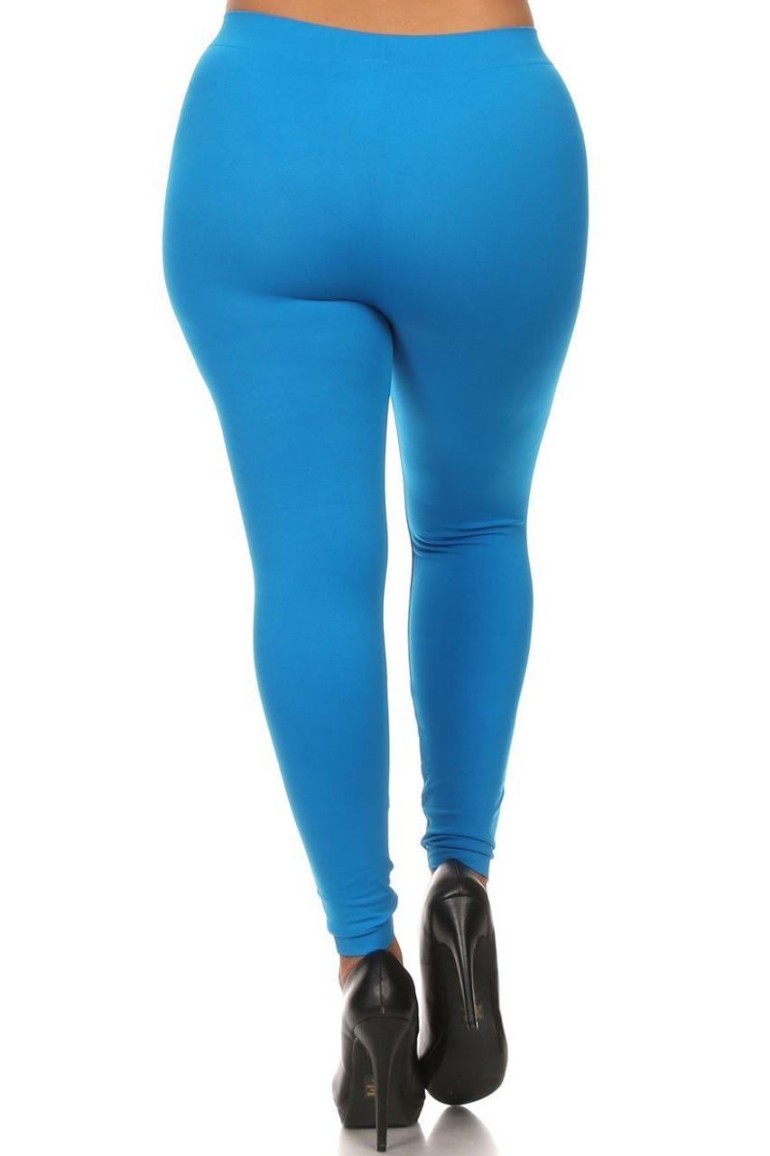 Turquoise Full Length Nylon Spandex Leggings - Plus Size