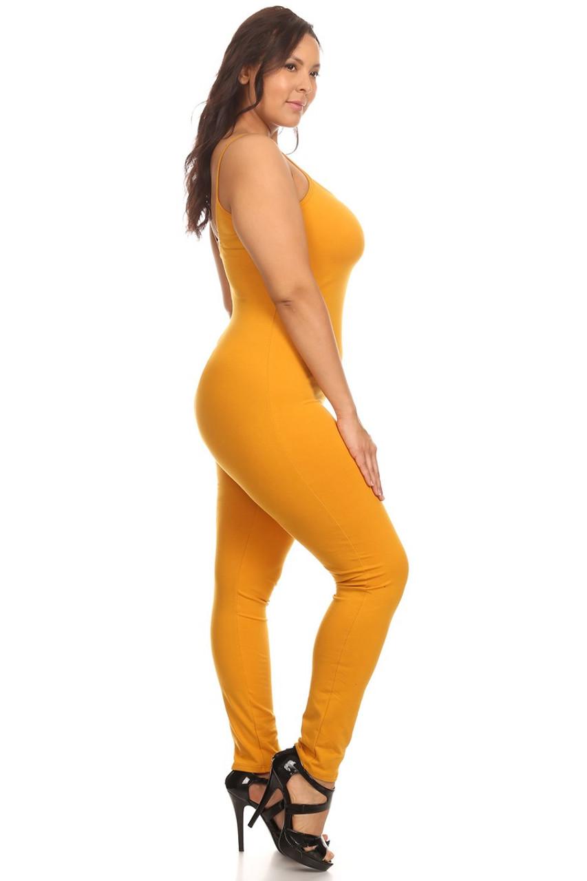USA Spaghetti Strap Cotton Tank Jumpsuit - Plus Size
