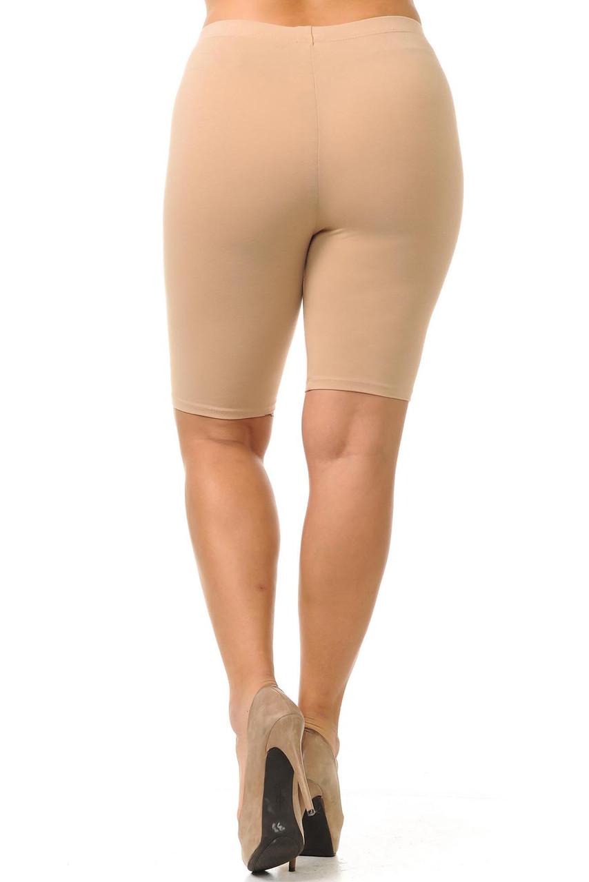 Back view of made in the USA beige cotton shorts with a Bermuda length hem.
