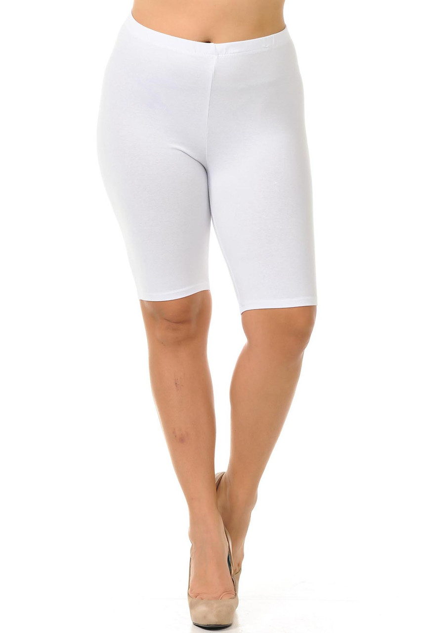 Front facing view of white made in the USA Cotton Thigh Plus Size Shorts  with an elasticized waist that comes up to about mid rise.