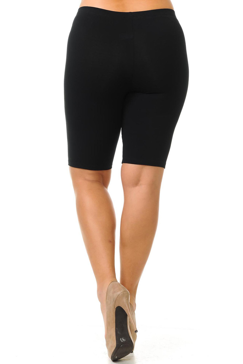 Rear view image of black made in the USA Cotton Thigh Plus Size Shorts with a body forming fit.
