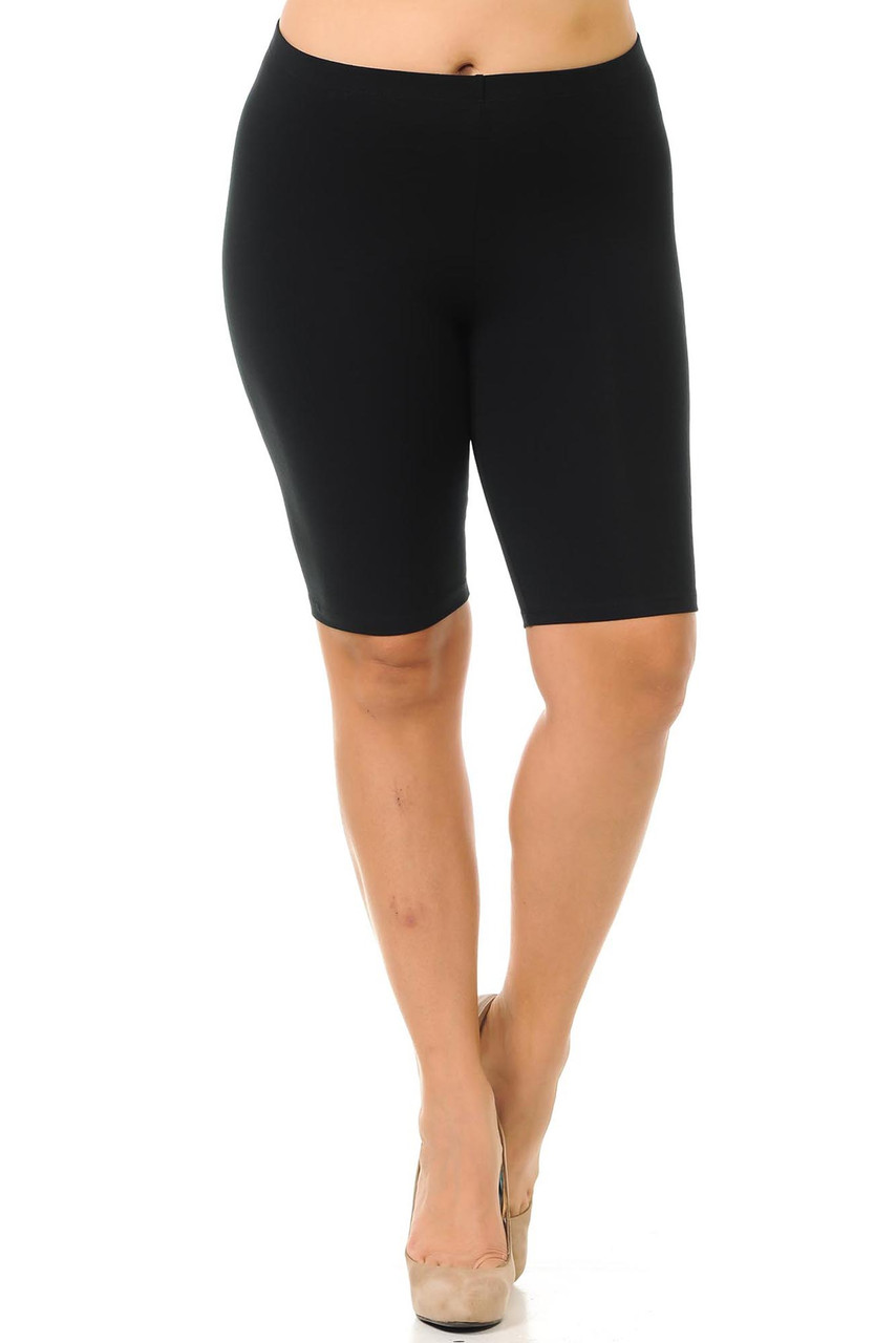 Front view of black plus size cotton bike shorts - made in the USA made to fit sizes XL-3XL