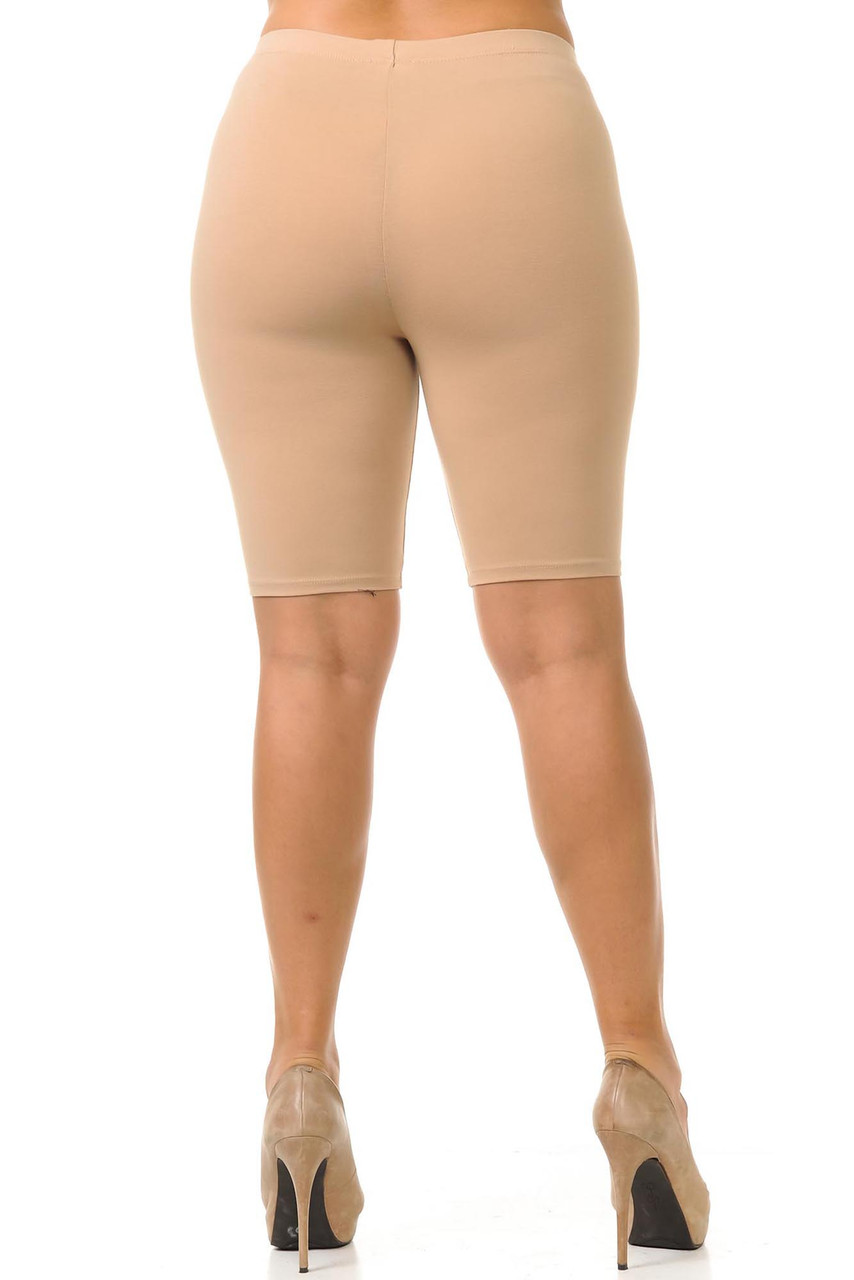 Rear view of beige plus size cotton bike shorts.