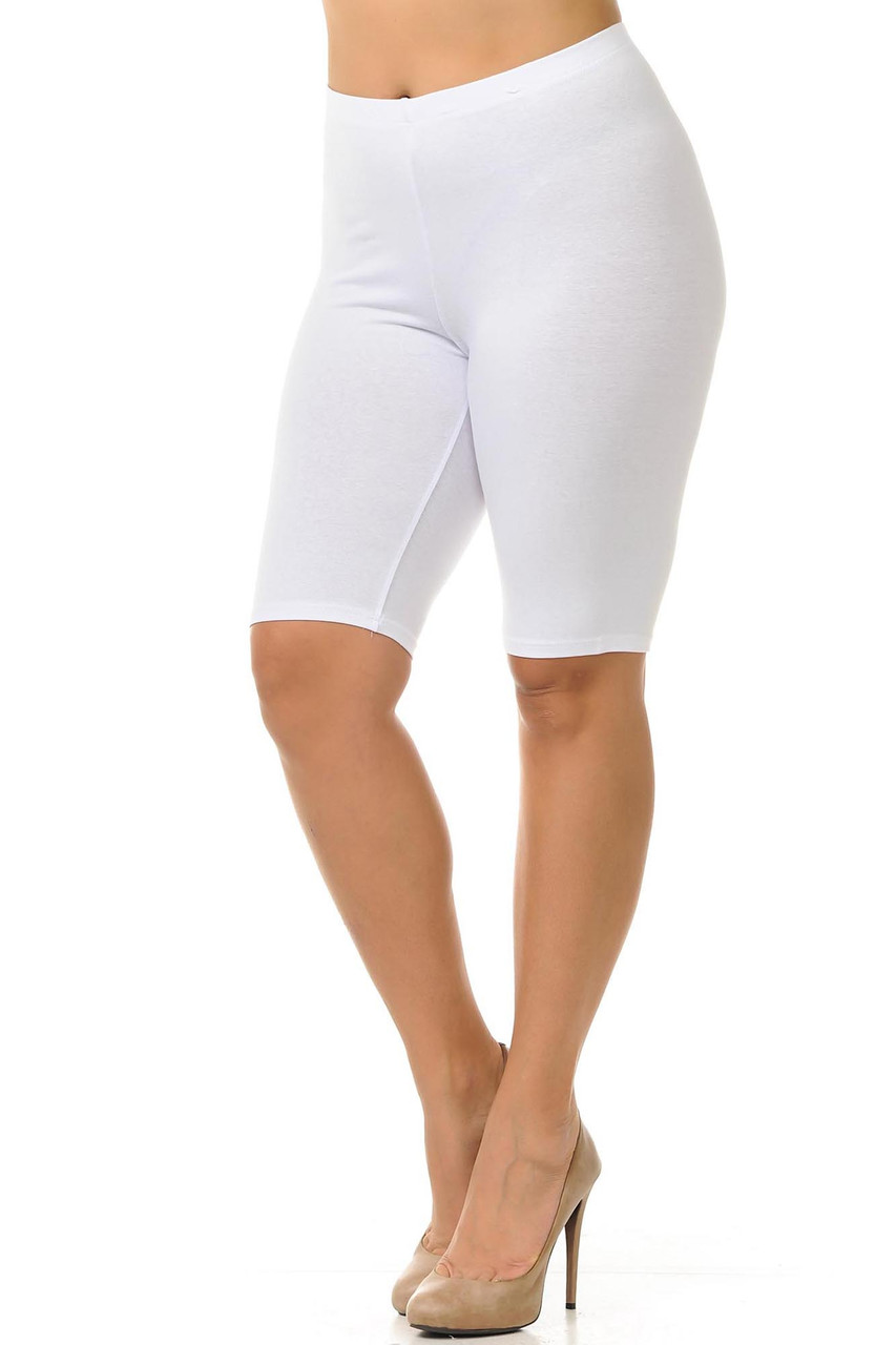45 degree view of white made in the USA Cotton Thigh Plus Size Shorts featuring a bike length cut.