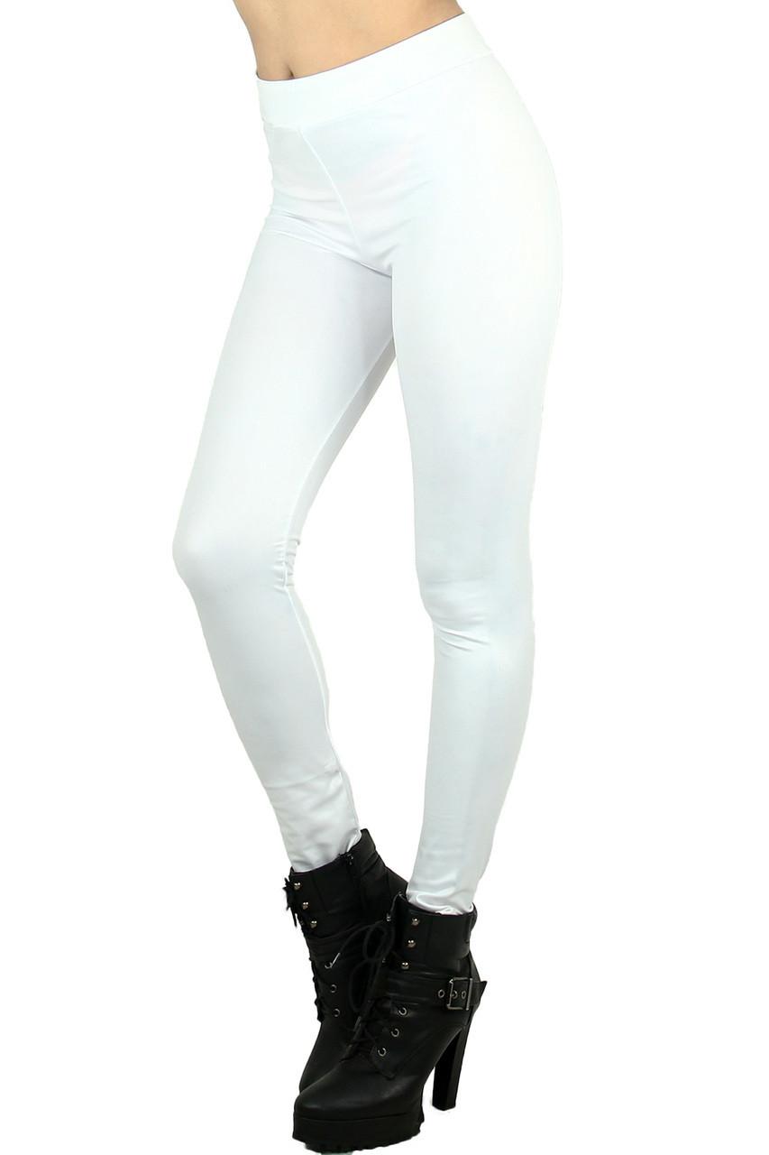 White Matte Liquid Cotton Leggings