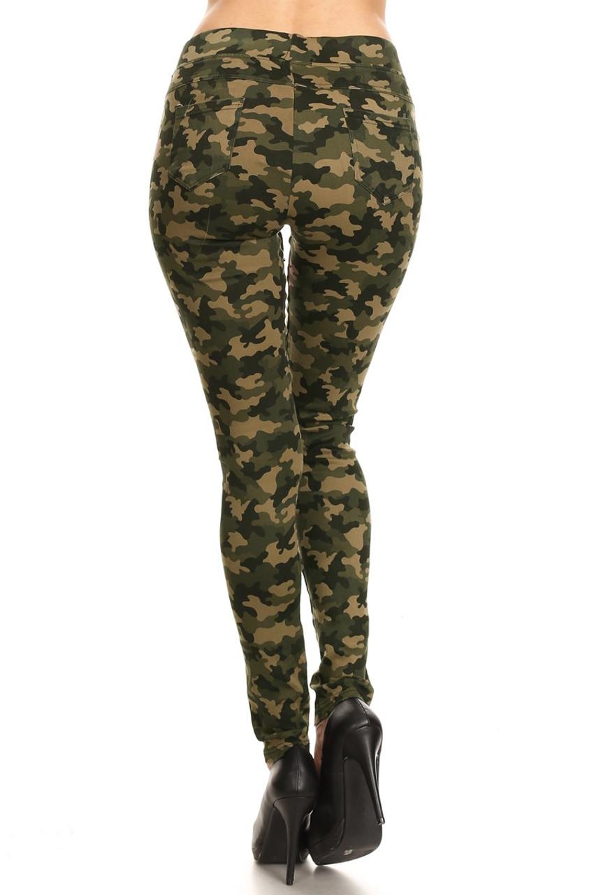 Camouflage Drawstring Jeggings