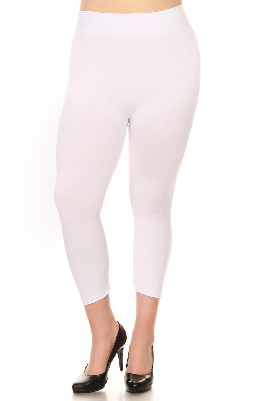 Plus Size Basic Spandex Capri Leggings