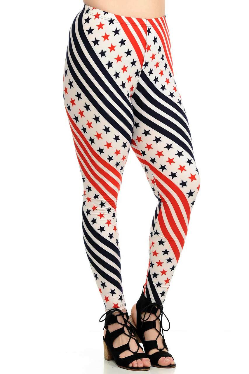 Plus Size Spiral Stars and Stripes Leggings