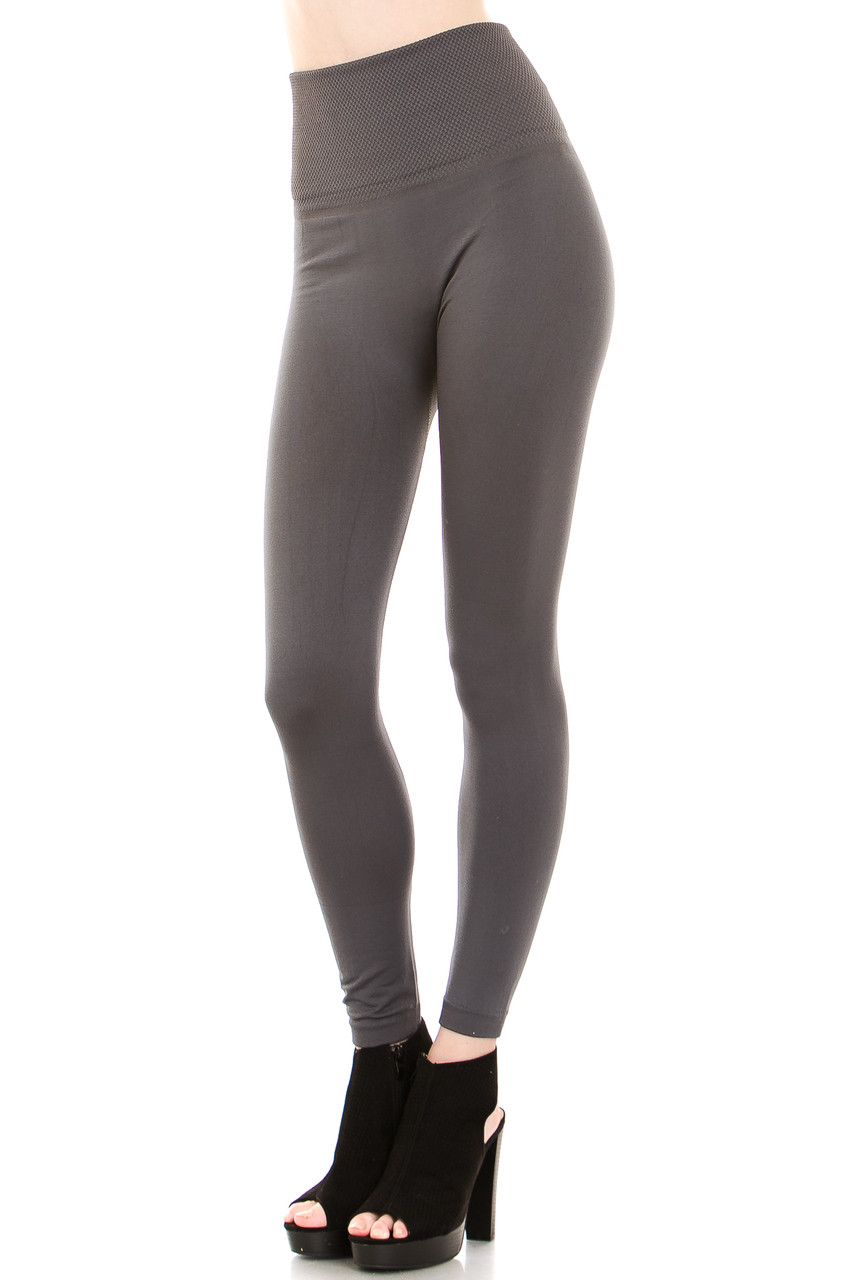 Charcoal High Waisted Banded Fleece Lined Leggings - Sizes 0 - 4