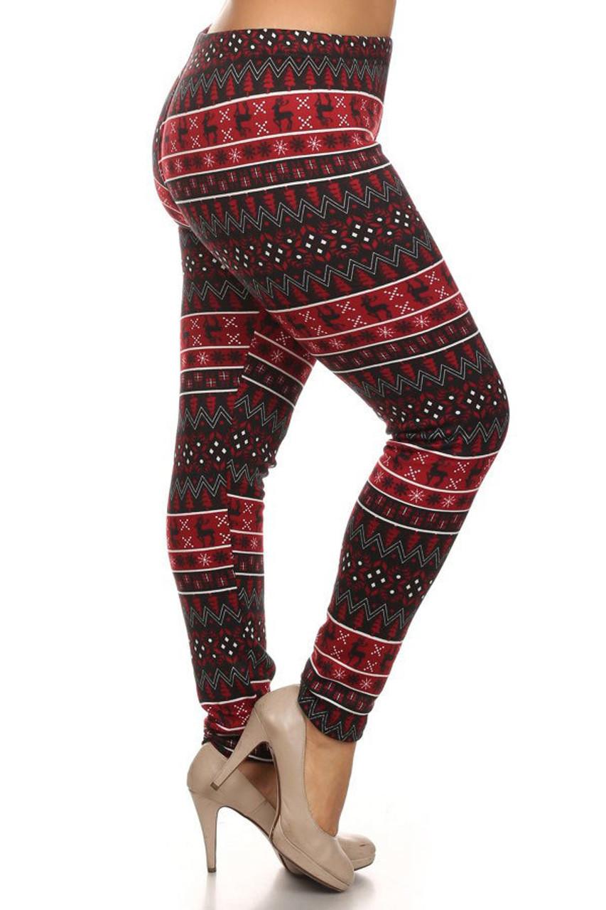 Festive Burgundy Reindeer Fur Lined Plus Size Leggings