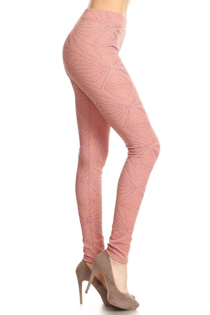 Glitter Lurex Geometric Leggings