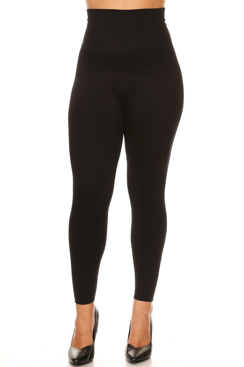 Black French Terry High Waisted Compression Plus Size Leggings