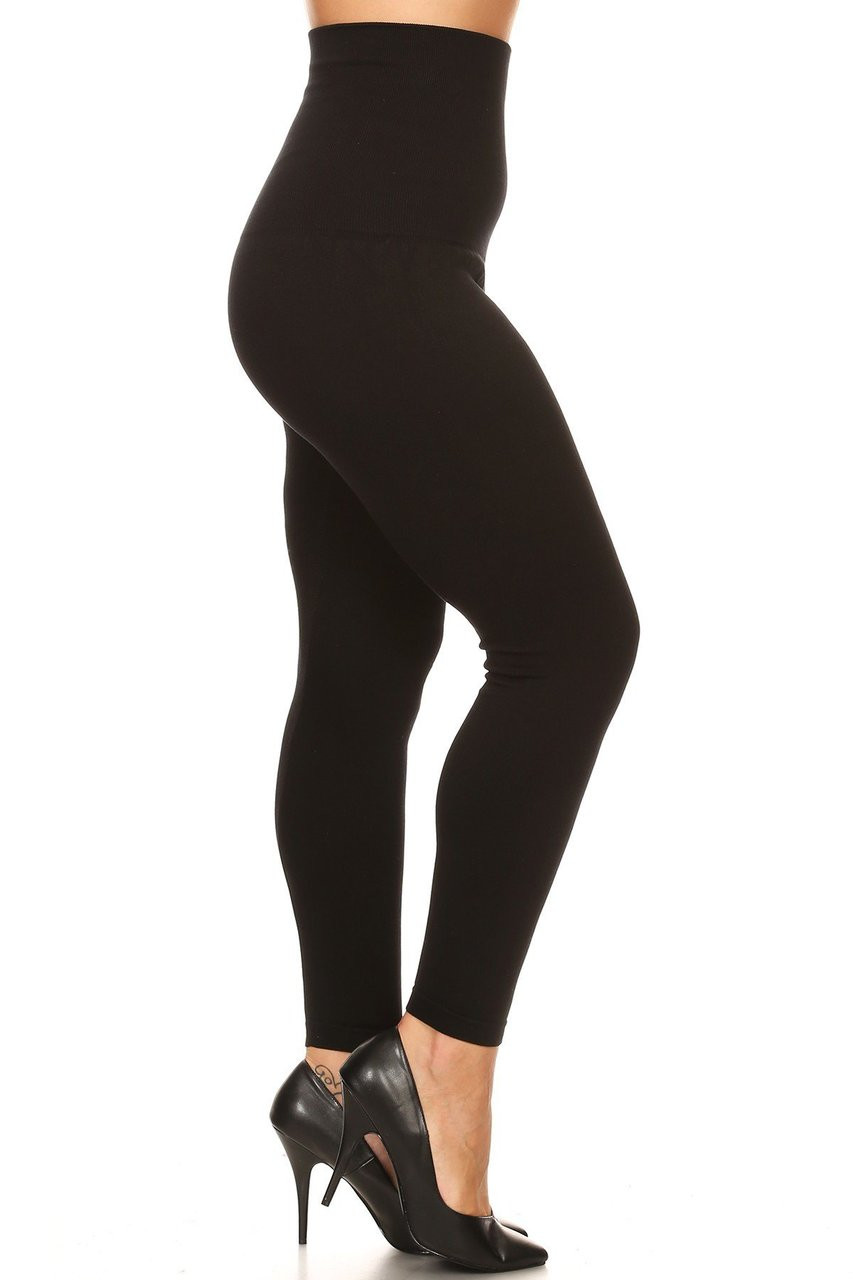 Side French Terry High Waisted Compression Plus Size Leggings