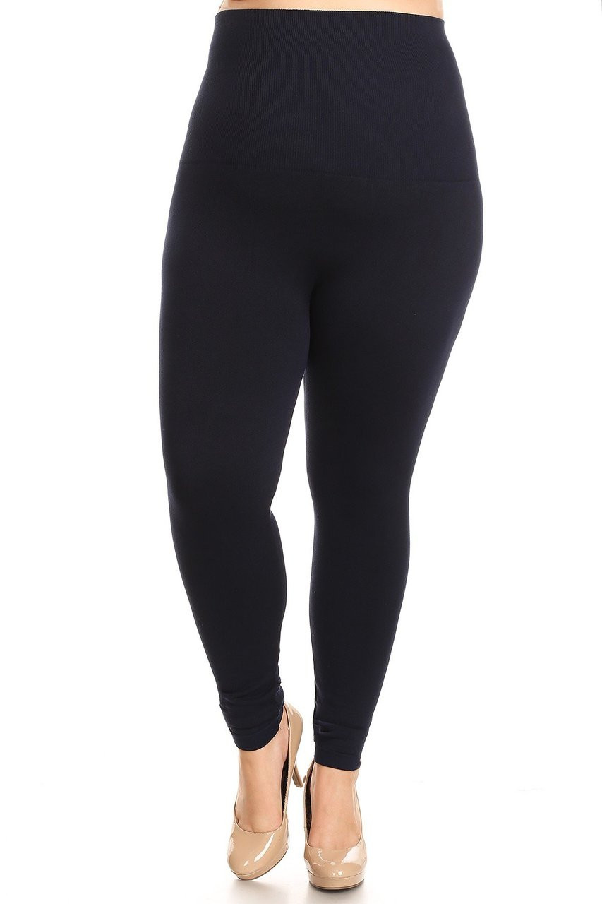 Navy French Terry High Waisted Compression Plus Size Leggings