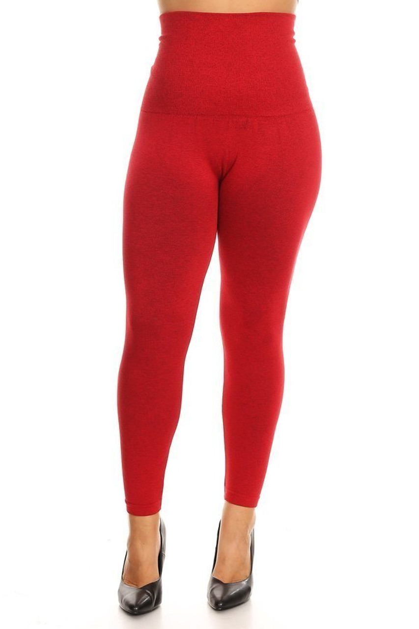 Red French Terry High Waisted Compression Plus Size Leggings