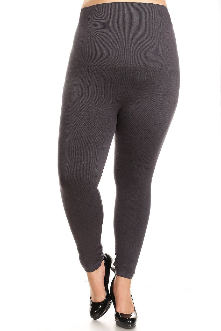 Charcoal French Terry High Waisted Compression Plus Size Leggings