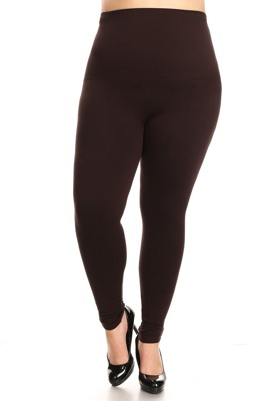 Brown French Terry High Waisted Compression Plus Size Leggings