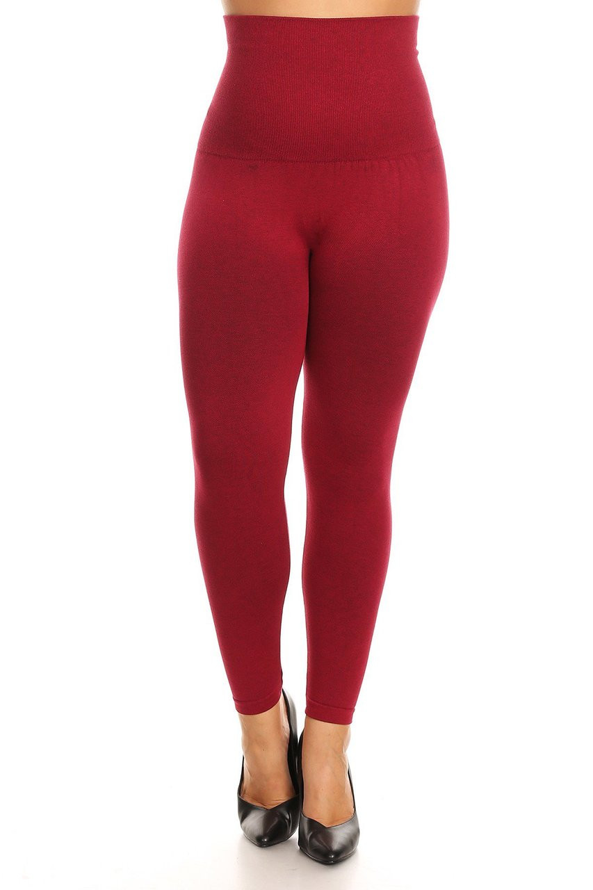 Burgundy French Terry High Waisted Compression Plus Size Leggings