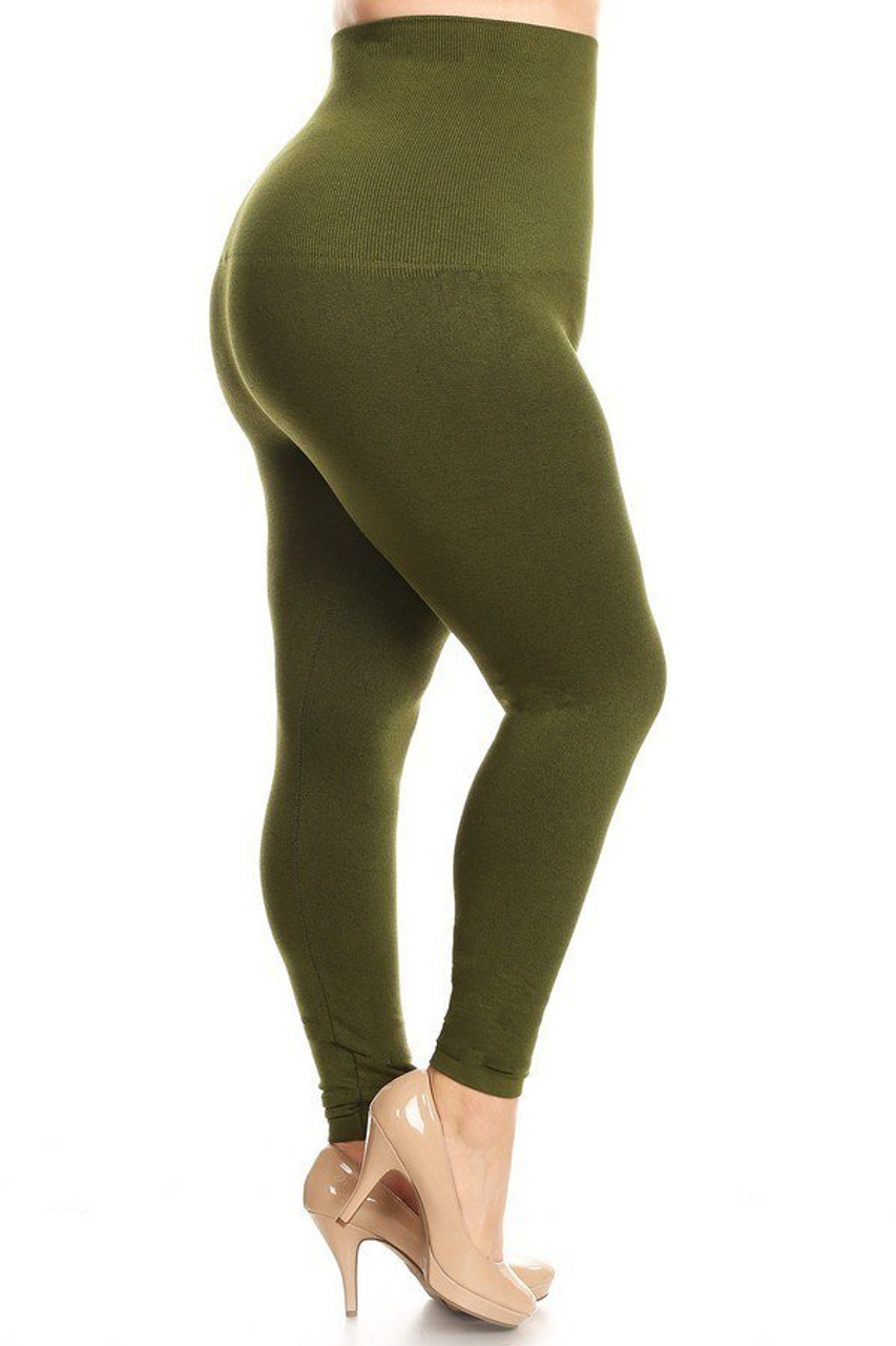 Olive French Terry High Waisted Compression Plus Size Leggings