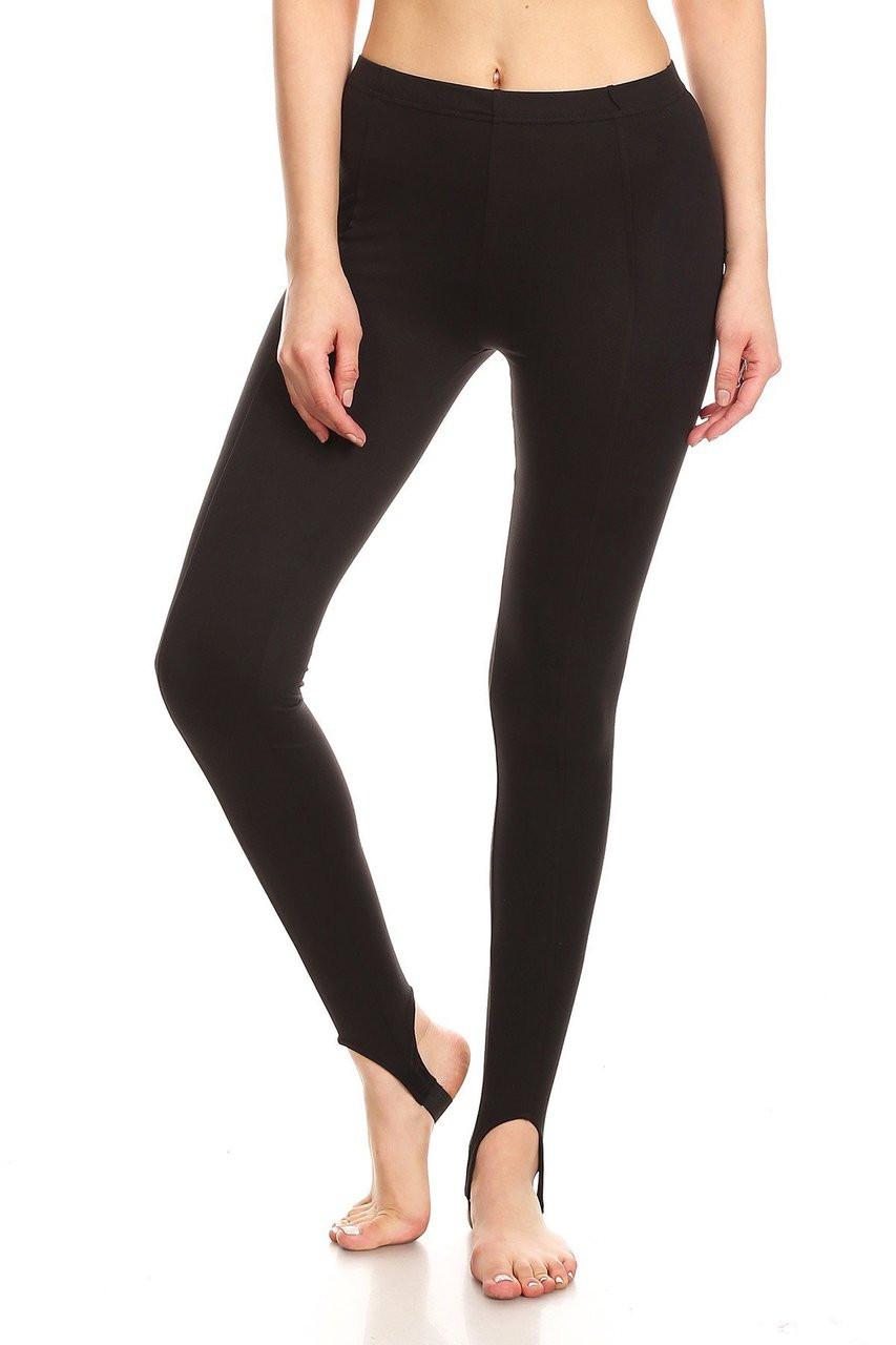Front image of Black Sport Stirrup Leggings