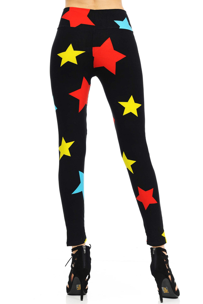 High Waisted Color Star Leggings