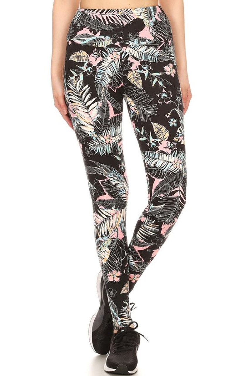 Wholesale Premium Brushed High Waisted Pink Frond Sport Leggings