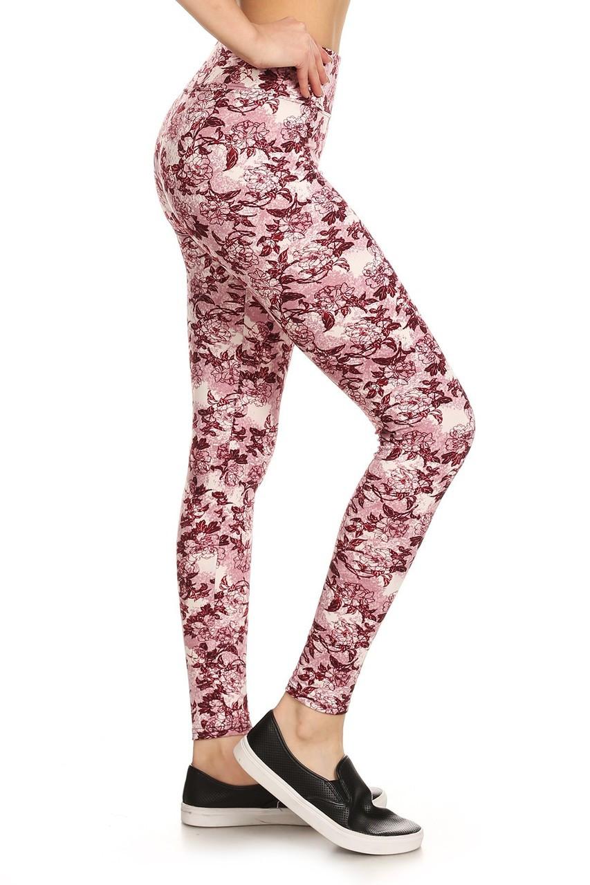 Wholesale Premium Brushed High Waisted Rosetta Rose Sport Leggings