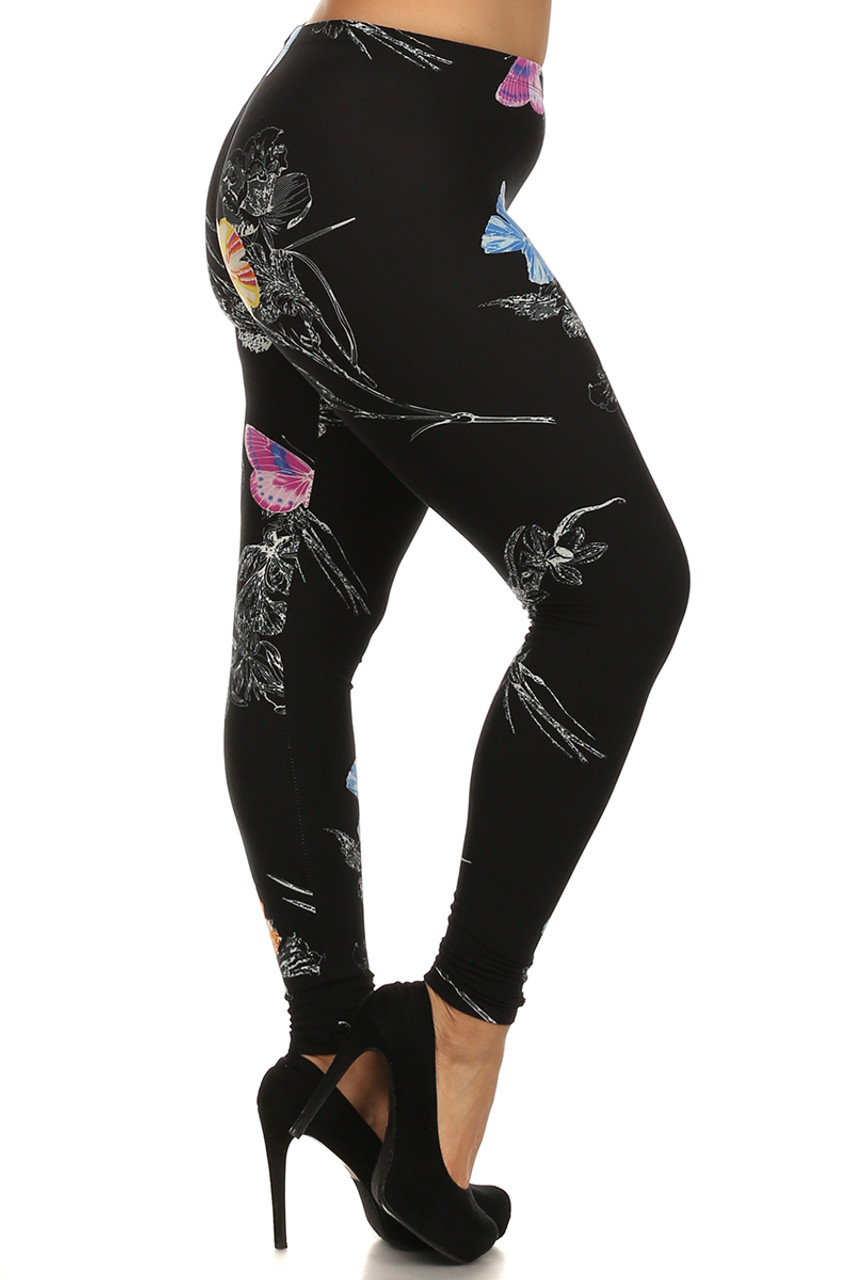 Right side leg image of Beautiful Butterfly Plus Size Leggings - 3X-5X