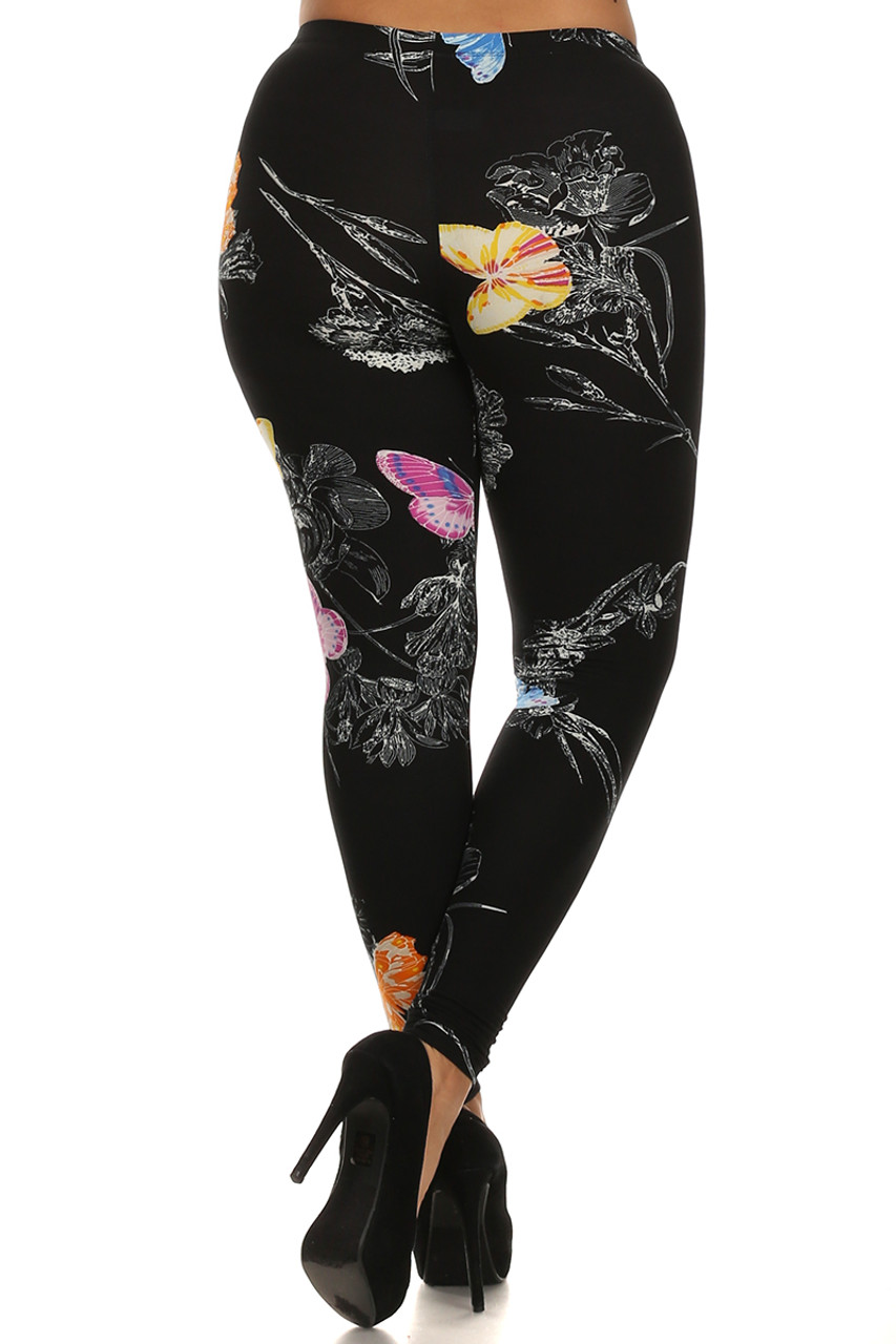 Back side image of Beautiful Butterfly Plus Size Leggings - 3X-5X