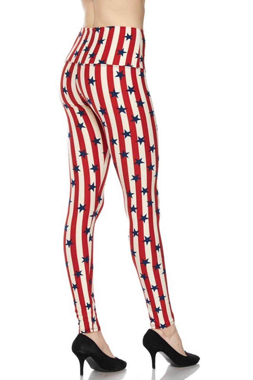 Vertical Stripes USA Flag High Waist Leggings
