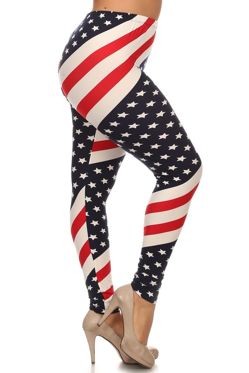 Mini Star Twist USA Flag Plus Size Leggings - 3X-5X