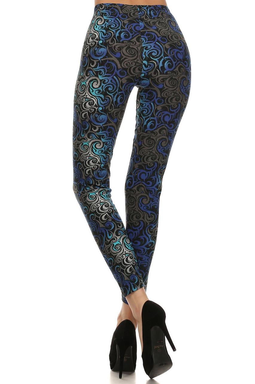 Back side image of Blue Tangled Swirl Leggings