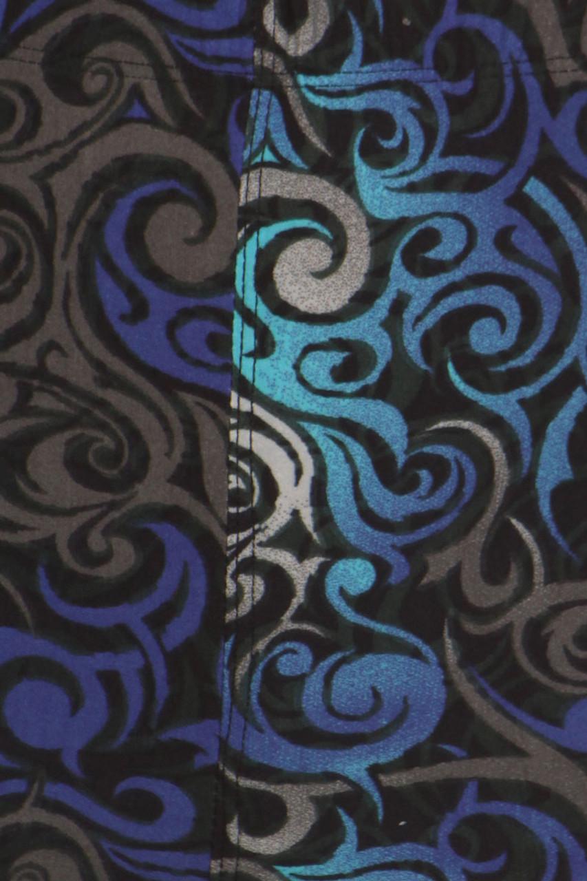 Close up fabric image of Blue Tangled Swirl Leggings