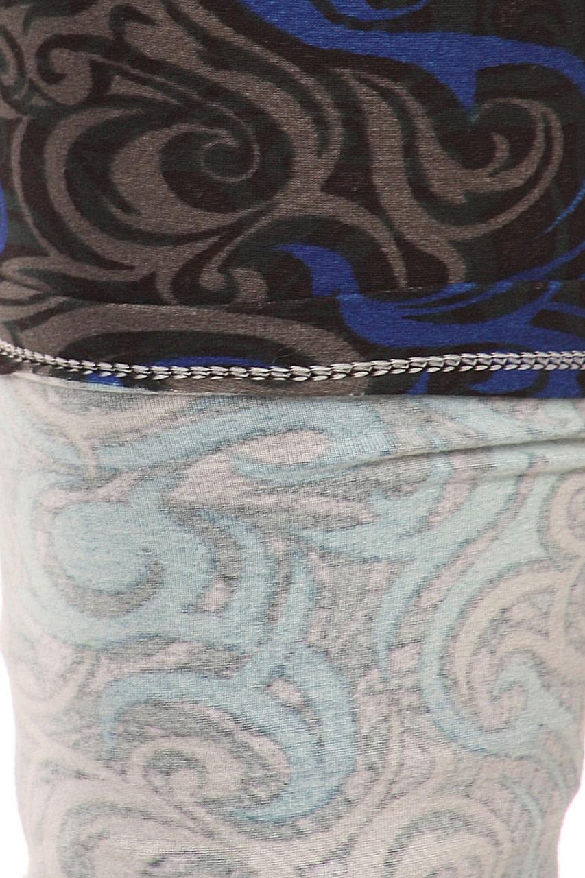 Close-up fabric image of Plus Size Blue Tangled Swirl Leggings - 3X-5X