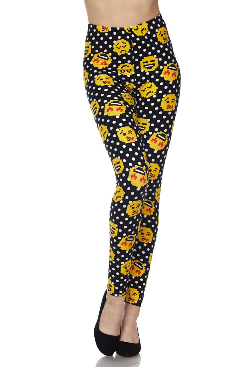 Buttery Soft Retro Pixel Arcade Emoji Plus Size Leggings