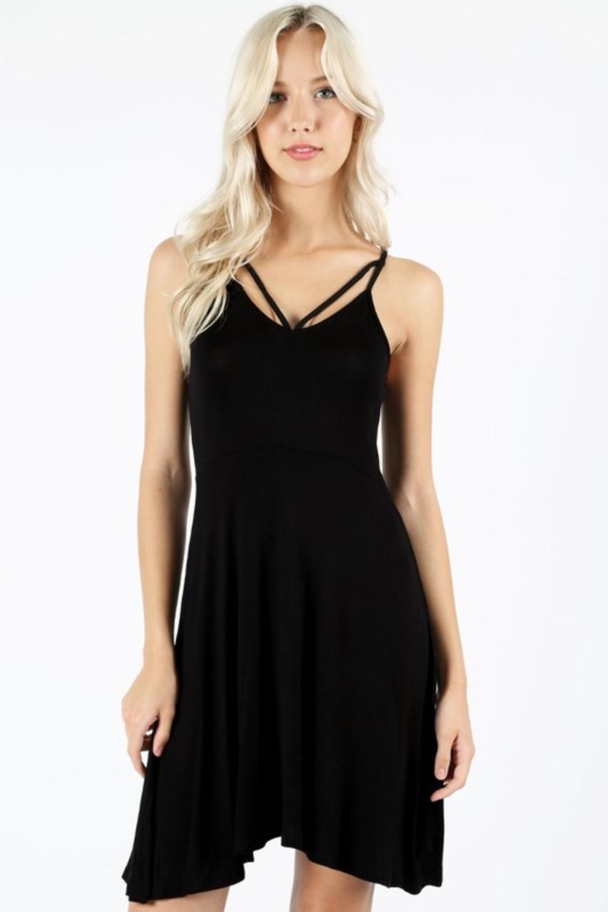 Premium Sleeveless V-Strap Rayon Skater Dress