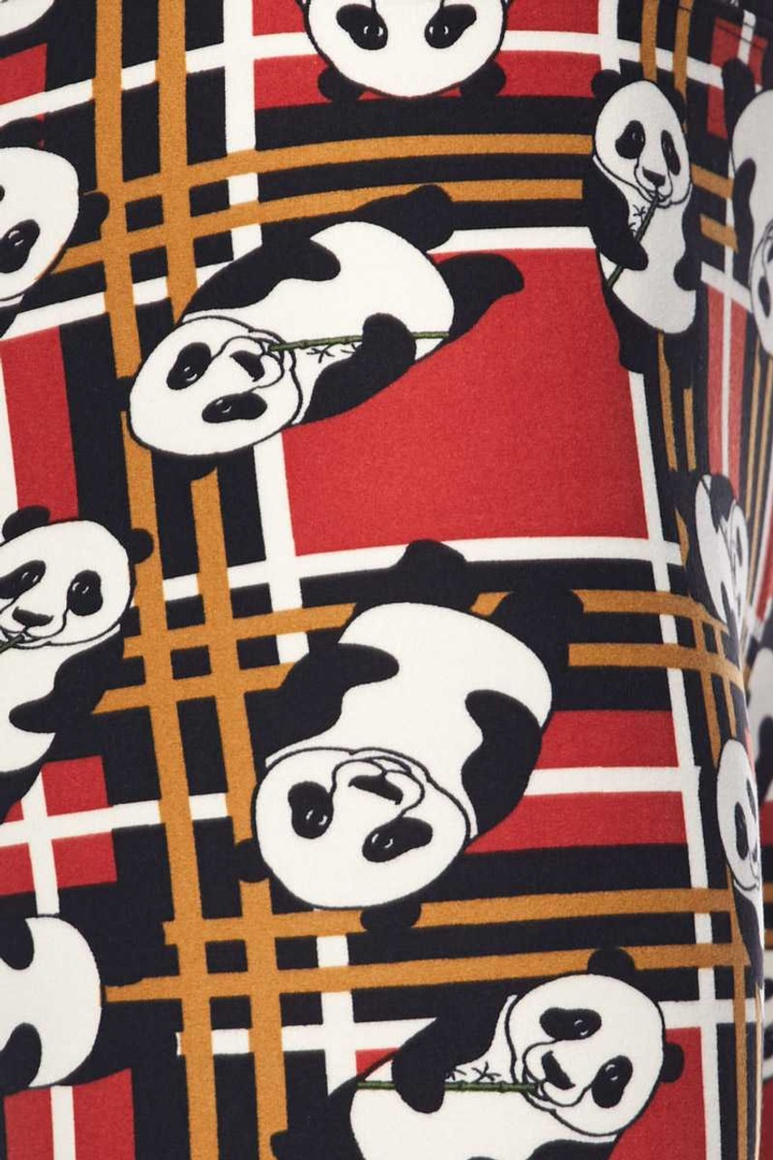 Plaid Panda High Waisted Leggings