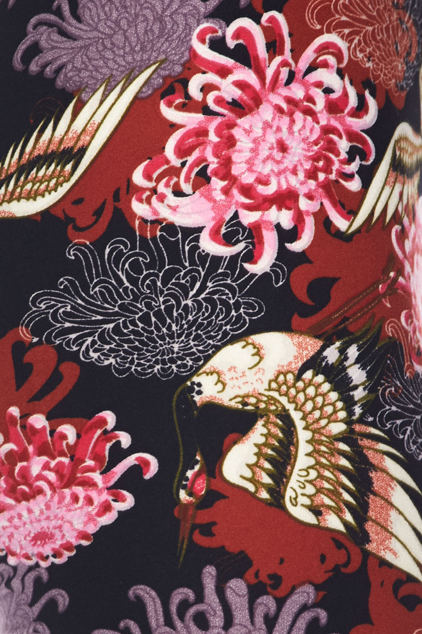 Buttery soft Japanese Cranes and Chrysanthemums Kids Leggings