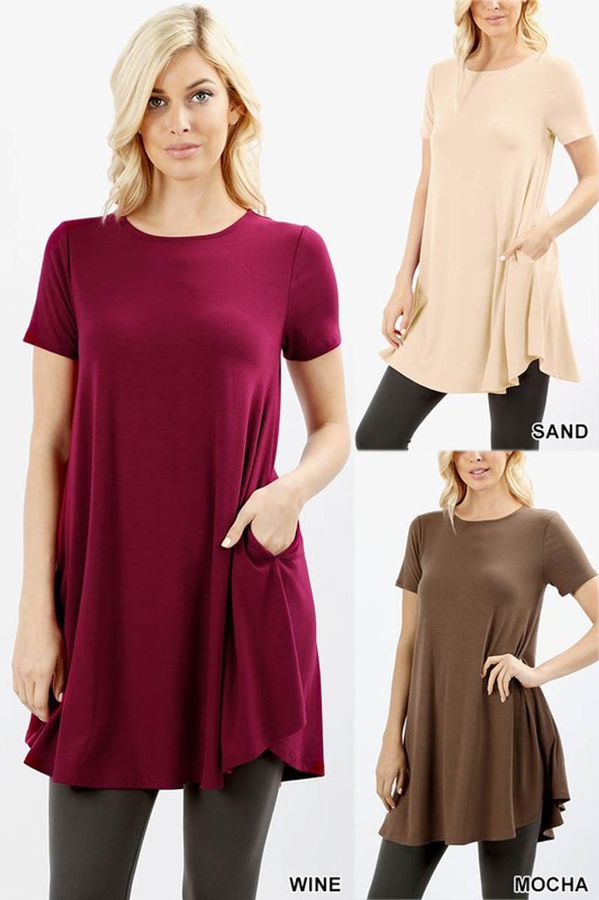 Premium Round Neck Round Hem Short Sleeves Tunic with Pockets