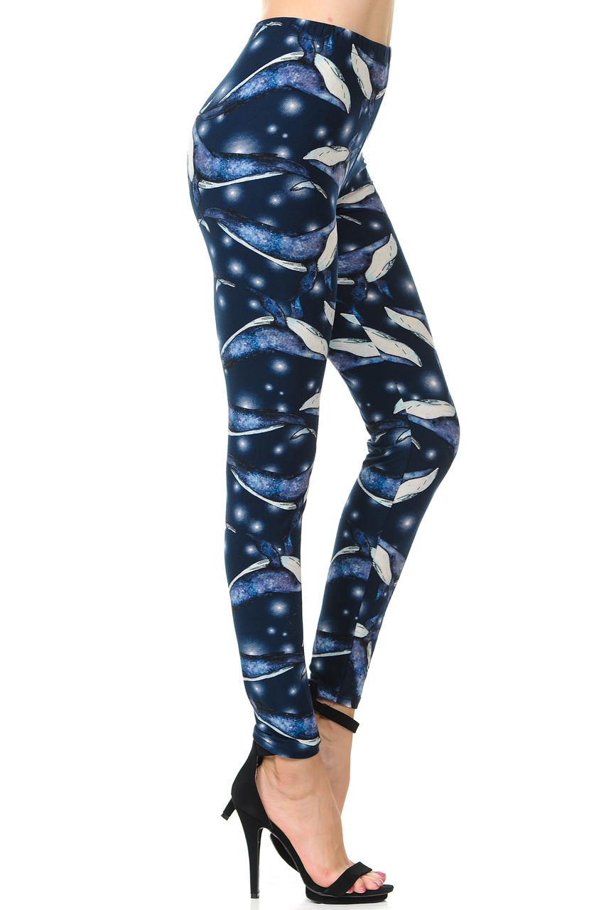 Buttery Soft Blue Whale Plus Size Leggings - 3X-5X