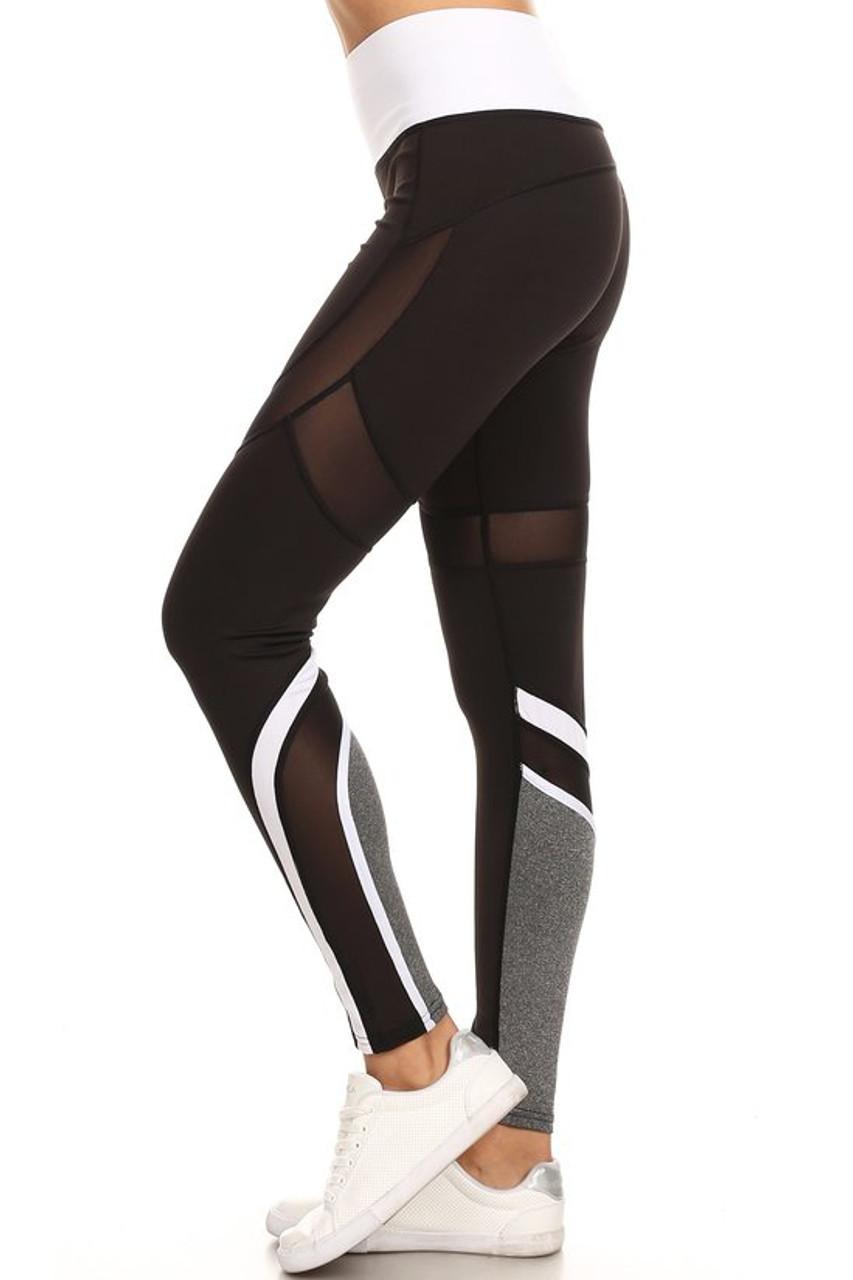 Premium White Multi Mesh Panel Workout Leggings
