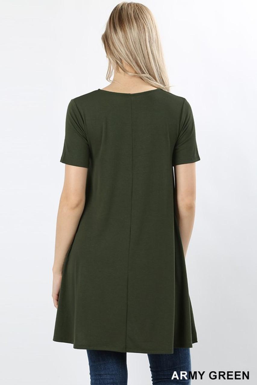 Premium Round-Neck Straight Hem Tunic with Pockets