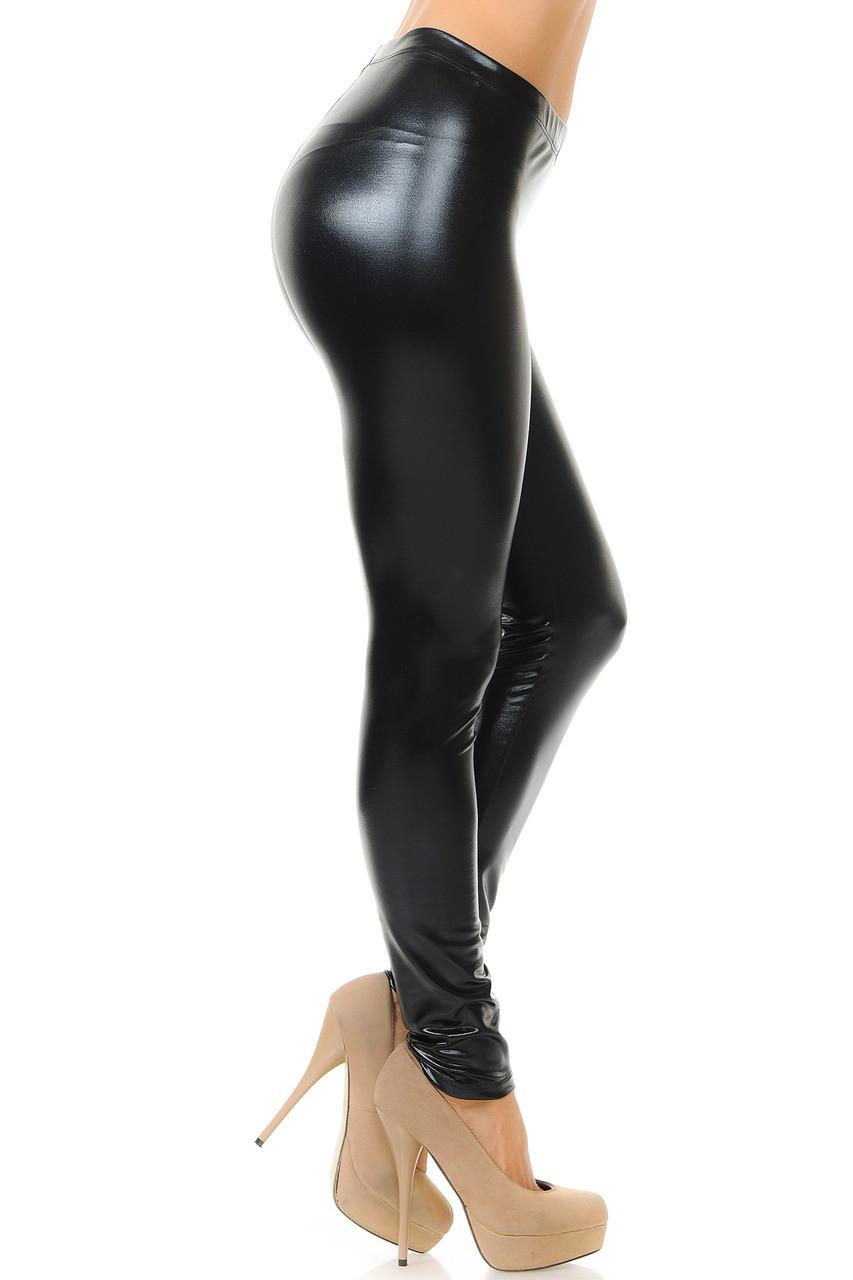 Shiny Black Faux Leather Leggings