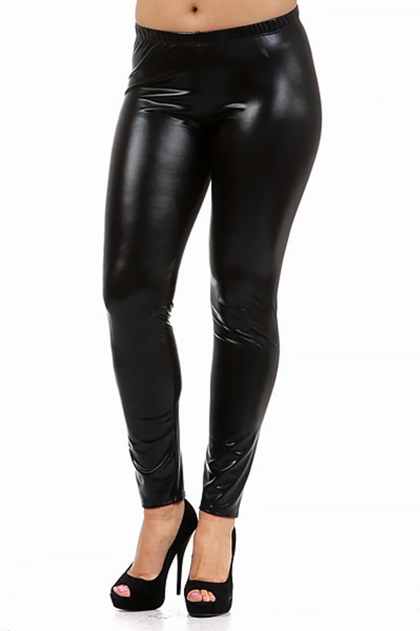 Shiny Black Plus Size Faux Leather Leggings