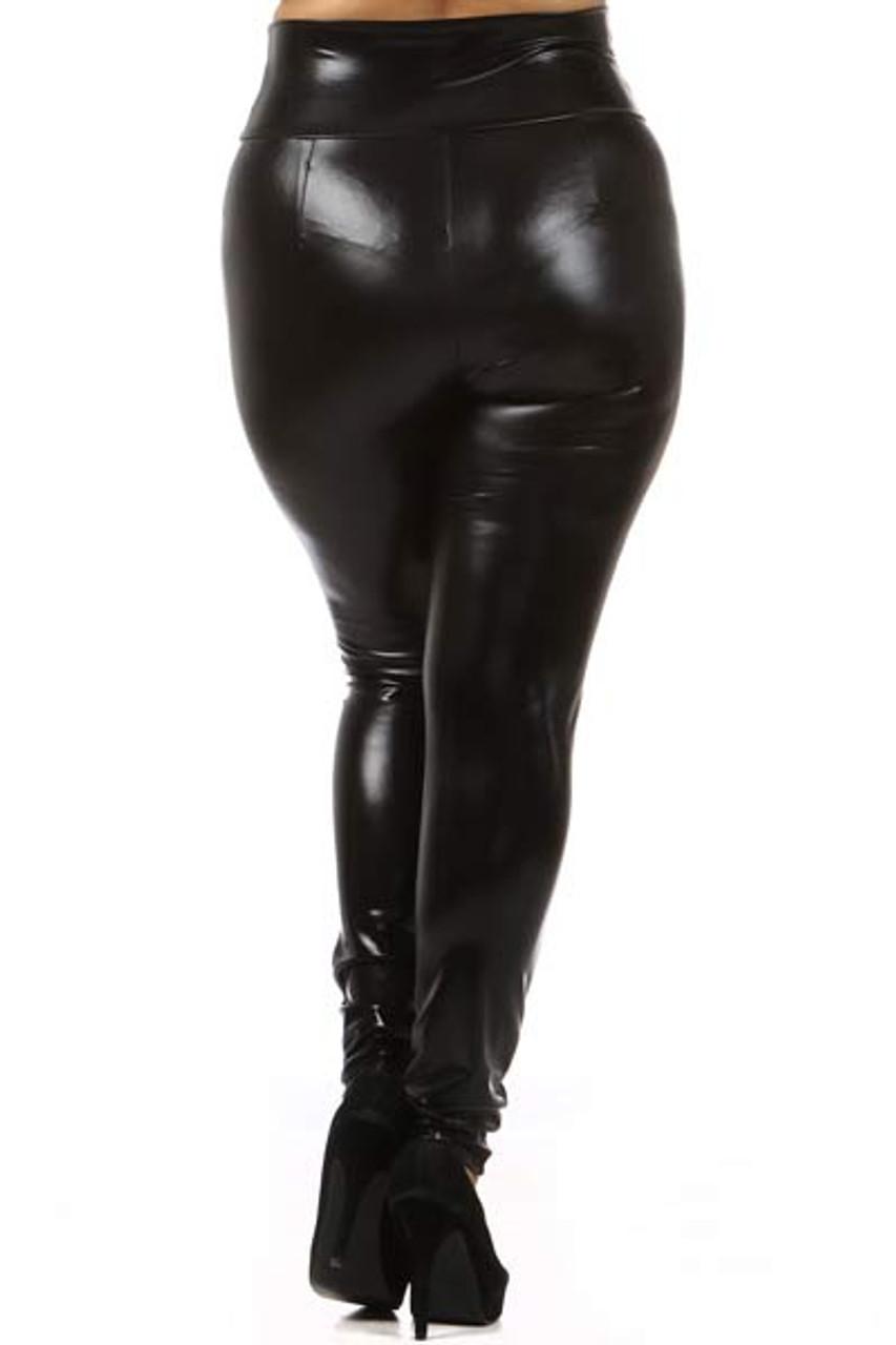 Shiny Black High Waisted Plus Size Faux Leather Leggings