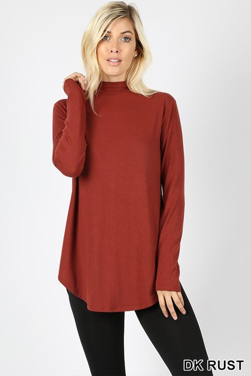 Premium Long Sleeve Mock Neck Round Hem Plus Size Top