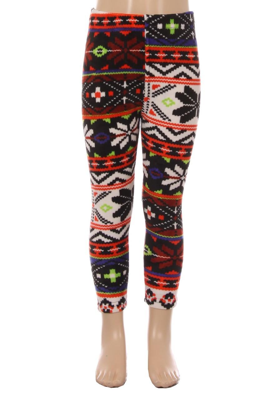 Velour Colorful Snowflake Kids Leggings