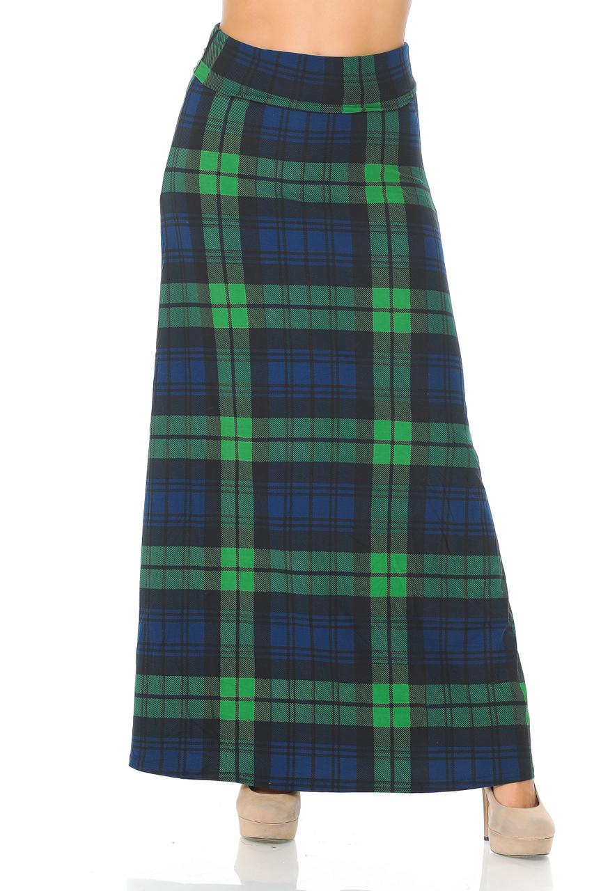 Buttery Soft Green Plaid Maxi Skirt