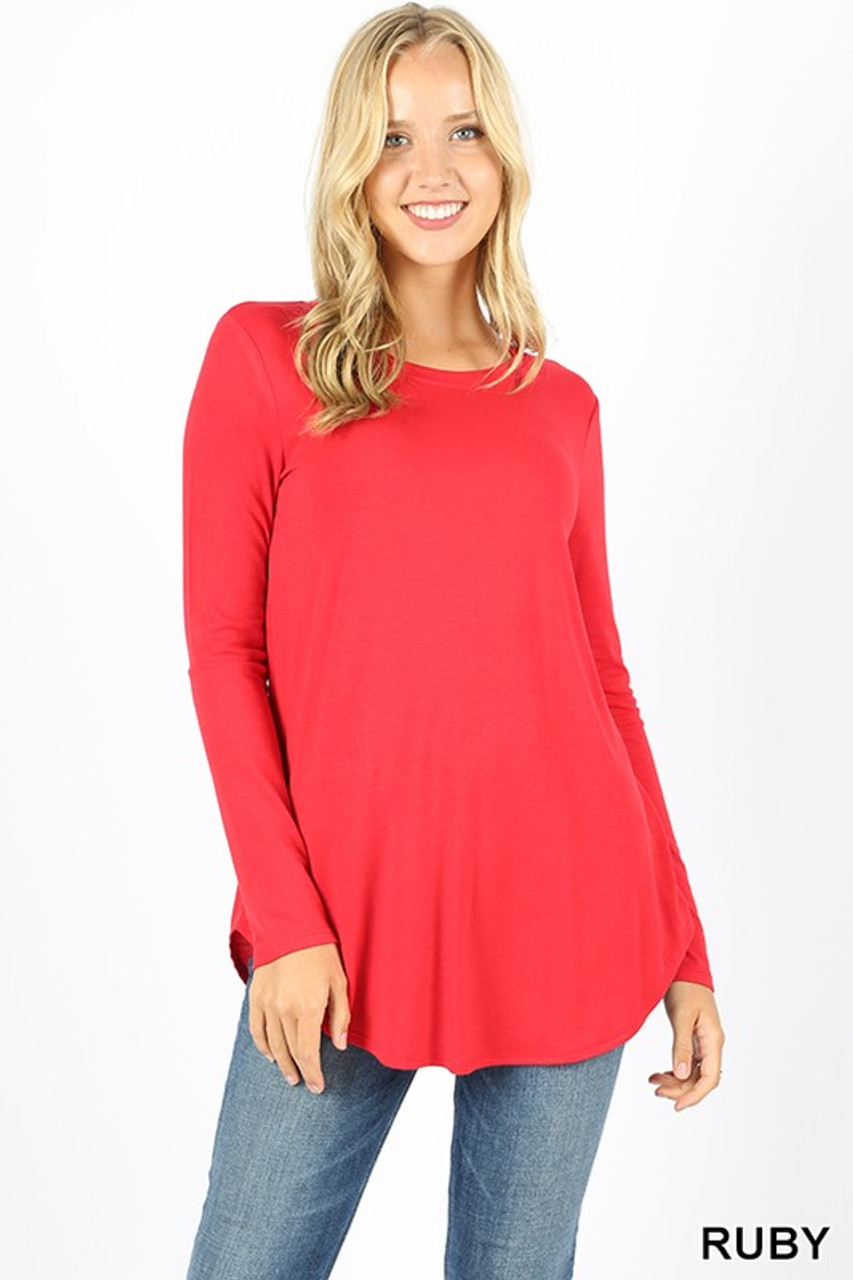 Premium Round Neck Round Hem Long Sleeve Plus Size Top